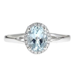Anika and August D'yach 14K White Gold Oval-cut Brazilian Aquamarine 1/8ct TDW White Diamond Ring (G-H, I1-I2)