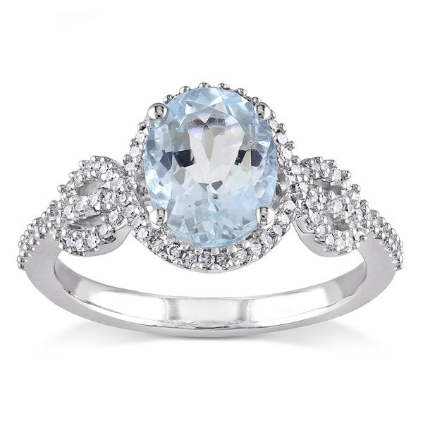 miadora 10k white gold aquamarine and 1 4ct tdw