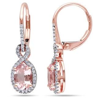 Miadora 10k Rose Gold Morganite and 1/4ct TDW Diamond Earrings (G-H, I1-I2)