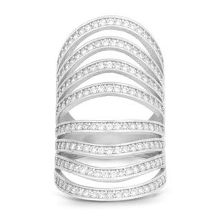 La Preciosa Sterling Silver Channel-set Cubic Zirconia Multi-row Wide-band Ring
