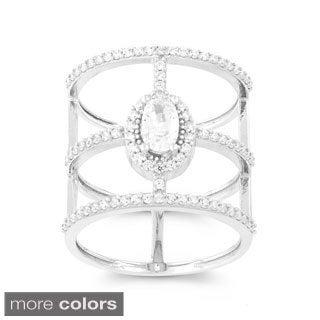 La Preciosa Sterling Silver Cubic Zirconia Oval/ Bars Wide-band Ring