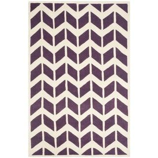 Safavieh Handmade Moroccan Chatham Purple/ Ivory Wool Rug (8' x 10')