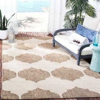 Safavieh Indoor/ Outdoor Courtyard Beige/ Brown Rug (4' x 5'7)