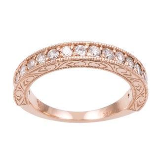 14k Rose Gold 1/2ct TDW Hand Engraved Vintage Style Diamond Band Ring (G-H, I1-I2)