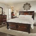Elliot Distressed Warm Brown 5-piece 2-drawer Wood Sleigh Bed Set