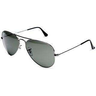 Ray-Ban Aviator Polarized Lenses Sunglasses 55mm - Gunmetal Frame/Green Polarized Lenses