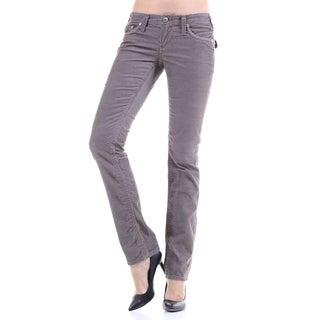 Stitch's Women's Slim Fit Grey Thin Corduroy Jeans