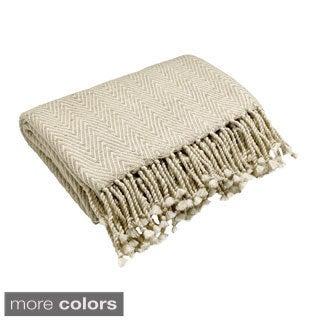 Natural Silk Herringbone Throw Blanket
