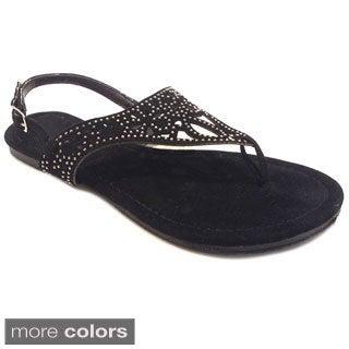 Olivia Miller Women's Heat-sealed Rhinestone Cut-out Sandals