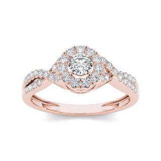 De Couer 10k Rose Gold 1/2ct TDW Diamond Engagement Ring (H-I, I2)