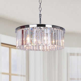 Justina 5-light Chrome Chandelier with Crystal Glass Prisms