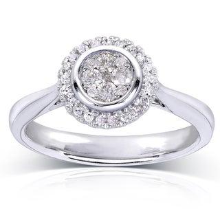 Annello 10k White Gold 1/4ct TDW Cluster and Halo Diamond Engagement Ring (H-I, I1-I2)