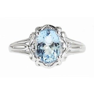Anika and August D'Yach 14k White Gold Oval-cut Brazilian Aquamarine and Diamond Accent Ring