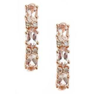 Anika and August D'yach 14k Rose Gold Morganite 1/10ct TDW Diamond Earrings (G-H, I1-I2)