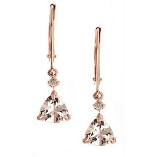 Anika and August D'yach 14k Rose Gold Morganite with Diamond Accents Fashion Earrings