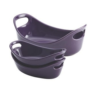 Rachael Ray Purple Stoneware Small Oval Bubble and Brown 3-piece Set