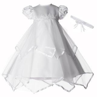 Girls White Christening/ Baptism Long Dress with Headband