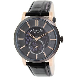 Kenneth Cole Men's KC8045 Black Leather Automatic Watch with Black Dial