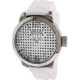 Kenneth Cole Reaction Men's RK1319 White Silicone Analog Quartz Watch with Silvertone Dial