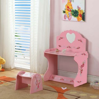K and B Furniture Children's Pink Floral Wood Desk with Stool