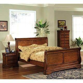 Furniture of America Venice Dark Oak Sleigh Bed