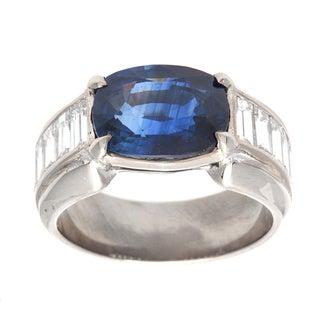 Pre-owned Platinum 1 3/5ct TDW Oval Sapphire Estate Ring (G-H, VS1-VS2)