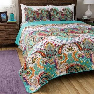 Greenland Home Fashions Nirvana Paisley Cotton 3-piece Quilt Set