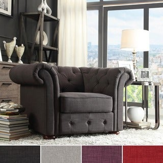 TRIBECCA HOME Knightsbridge Linen Tufted Scroll Arm Chesterfield Chair