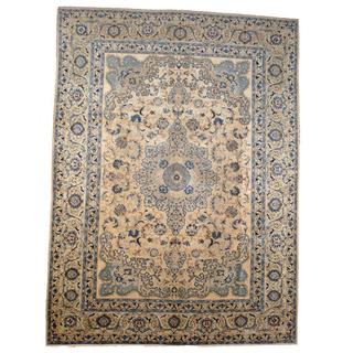 Herat Oriental Semi-antique 1940's Persian Hand-knotted Isfahan Ivory/ Blue Wool Rug (9'7 x 13')