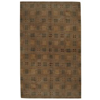 Herat Oriental Indo Hand-knotted Tibetan Tan/ Green Wool Rug (8'10 x 12'4)