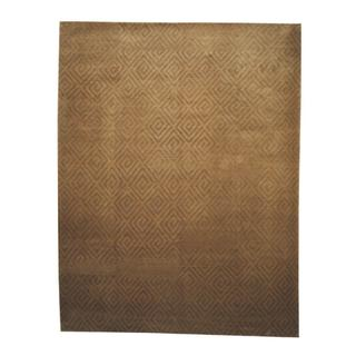 Herat Oriental Indo Hand-knotted Tibetan Gold/ Tan Wool Rug (9'2 x 11'8)