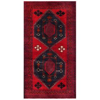 Herat Oriental Semi-antique Afghan Hand-knotted Tribal Balouchi Red/ Navy Wool Rug (3'7 x 6'7)