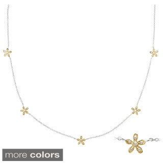 Gioelli Sterling Silver Daisy Flower Station White Diamond Accent Necklace