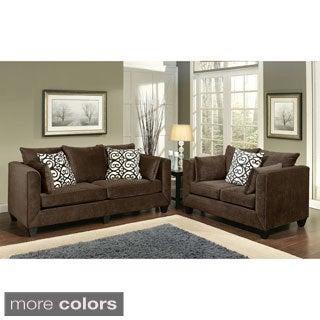 Furniture of America Wallena Modern Chenille 2-Piece Sofa Set