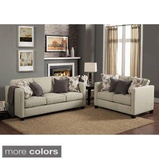 Furniture of America Kalisie Modern 2-Piece Chenille Sofa and Loveseat Set