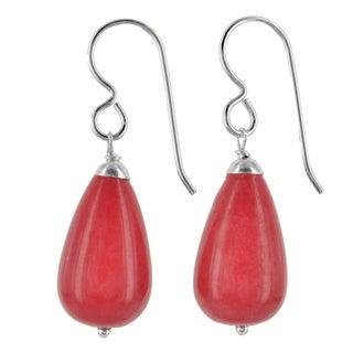 Ashanti Sterling Silver Red Jade Briolette Gemstone Handmade Earrings (Sri Lanka)