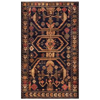Herat Oriental Semi-antique Afghan Hand-knotted Tribal Balouchi Beige/ Navy Wool Rug (3'10 x 6'5)