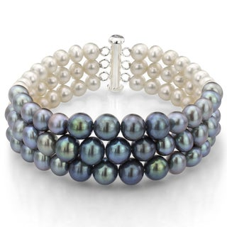 DaVonna Sterling Silver White Black and Grey Pearl 3-row Bracelet (6-8 mm)
