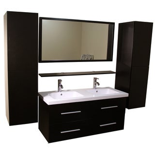 Kokols Double Vanity Cabinet with Side Cabinets and Mirror Faucets
