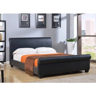 Abbyson Living Concord Black Bonded Leather Platform Bed