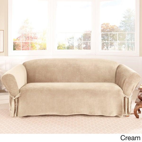 Sure Fit Soft Touch Velvet Sofa Slipcover Overstock