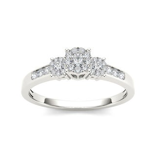 De Couer 10k White Gold 1/3ct TDW Diamond Trilogy Imperial Engagement Ring (H-I, I2)