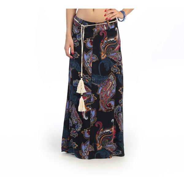 Hadari Women's Contemporary Juniors Paisley Print Maxi Skirt