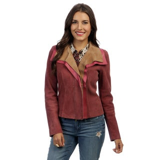 Escada Women's 'Lette' Pink and Tan Leather Jacket