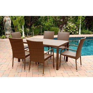 Abbyson Living Palermo Outdoor Brown Wicker 7-piece Dining Set