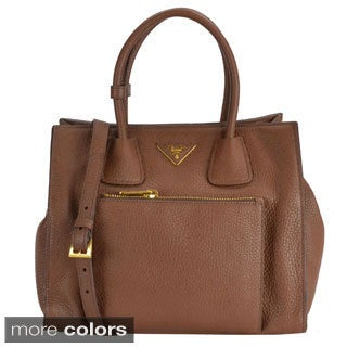 Prada Deerskin Leather Convertible Top-handle Tote Bag