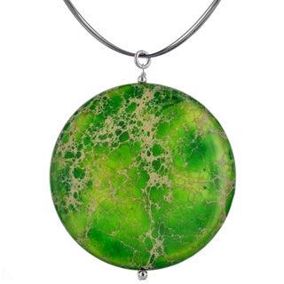 Ashanti Sterling Silver Large Round Green Jasper Gemstone Handmade Necklace (Sri Lanka)