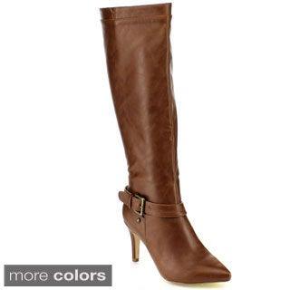 Blossom Women's 'Nancy-21X' Buckle Strap Knee-high Stiletto Boots