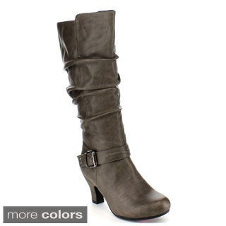 Blossom Women's 'Brand-37' Buckle Strap Knee-high Chunky Boots