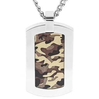 Crucible Stainless Steel Camouflage Dog Tag Pendant Necklace